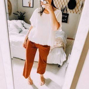 Zara wide leg cropped pants rust orange